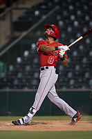 AZL Angels shortstop Jeremiah Jackson (8) follows through on his swing during an Arizona League game against the AZL Diamondbacks at Tempe Diablo Stadium on June 27, 2018 in Tempe, Arizona. AZL Angels defeated the AZL Diamondbacks 5-3. (Zachary Lucy/Four Seam Images)