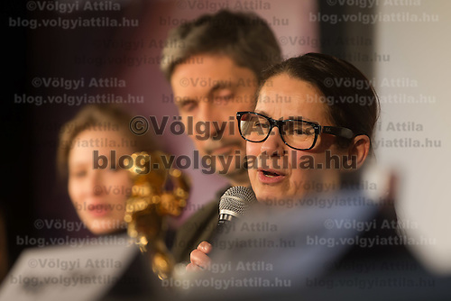 "Movie director Ildiko Enyedi (R) of Hungary talks about her new Golden Bear winning movie ""On Body and Soul"" during a press conference in Budapest, Hungary on February 21, 2017. ATTILA VOLGYI"