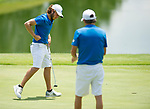 MUSCLE SHOALS, AL - MAY 25: West Florida's Carlos Marreo reacts to sinking a putt on No. 17 during the Division II Men's Team Match Play Golf Championship held at the Robert Trent Jones Golf Trail at the Shoals, Fighting Joe Course on May 25, 2018 in Muscle Shoals, Alabama. Lynn defeated West Florida 3-2 to win the national title. (Photo by Cliff Williams/NCAA Photos via Getty Images)