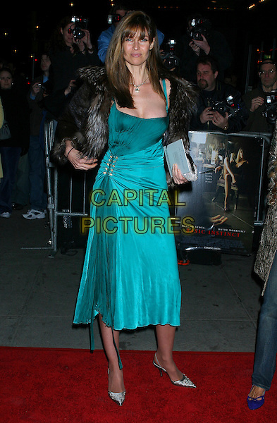 """CAROL ALT.Attends the film premiere of """"Basic Instinct 2: Risk Addiction"""",  New York City, NY, USA, .27 March 2006..full length blue turquoise dress fur wrap.Ref: IW.www.capitalpictures.com.sales@capitalpictures.com.©Ian Wilson/Capital Pictures"""