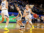 BROOKINGS, SD - NOVEMBER 21: South Dakota State Jackrabbits guard Tylee Irwin #21 gets a step past Montana State Bobcats guard Tori Martell #12 during their game Thursday night at Frost Arena in Brookings, SD.   (Photo by Dave Eggen/Inertia)
