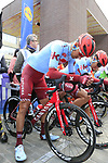 Riders line up for the start of the 2019 Gent-Wevelgem in Flanders Fields running 252km from Deinze to Wevelgem, Belgium. 31st March 2019.<br /> Picture: Eoin Clarke | Cyclefile<br /> <br /> All photos usage must carry mandatory copyright credit (© Cyclefile | Eoin Clarke)