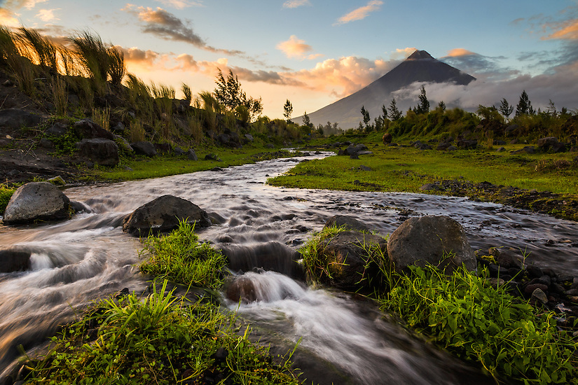 A river flows from Mount Mayon, Philippines.