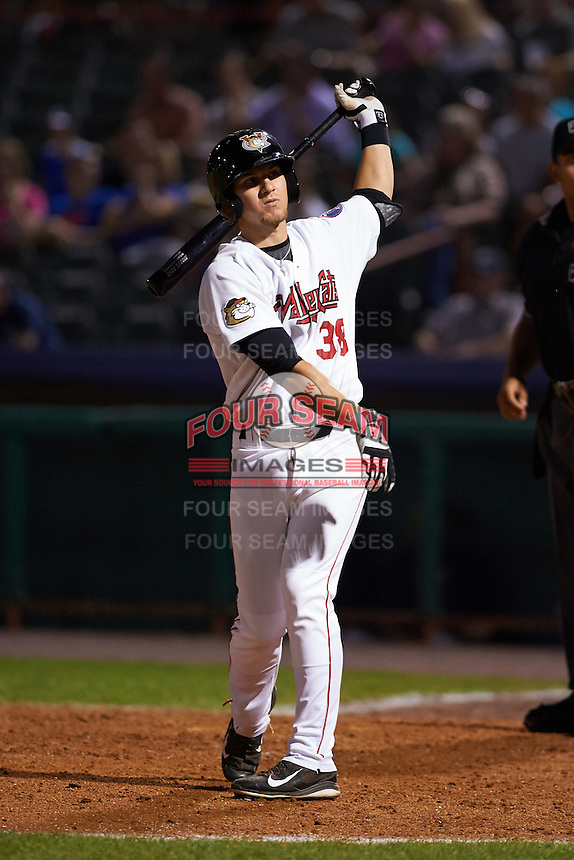 Tri-City ValleyCats second baseman Kolbey Carpenter (38) at bat during a game against the Brooklyn Cyclones on September 1, 2015 at Joseph L. Bruno Stadium in Troy, New York.  Tri-City defeated Brooklyn 5-4.  (Mike Janes/Four Seam Images)