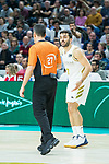 Facundo Campazzo protest to referee during Real Madrid vs Kirolbet Baskonia game of Liga Endesa. 19 January 2020. (Alterphotos/Francis Gonzalez)