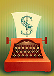 Illustrative image of typewriter with business sign keys printing out dollar sign on a paper