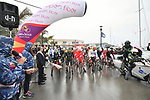 A wet start for Stage 2 of Il Giro di Sicilia running 236km from Capo d'Orlando to Palermo, Italy. 4th April 2019.<br /> Picture: LaPresse/Massimo Paolone | Cyclefile<br /> <br /> <br /> All photos usage must carry mandatory copyright credit (&copy; Cyclefile | LaPresse/Massimo Paolone)