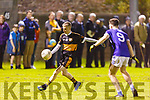 Austin Stacks David Courtney about to shoot as Diarmuid O'Hara of Annascaul closes down on him, in the Barrett Cup final