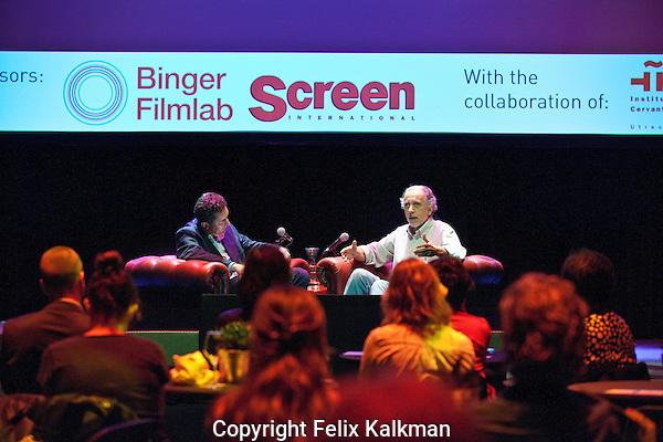 Utrecht, 26 september 2014<br /> Binger Screen Int Interview<br /> Nederlands FIlm Festival<br /> Oscar winning director Fernando Trueba (Spain) being interviewed by Geoffrey MacNab (on the left).<br /> Photo by Felix Kalkman