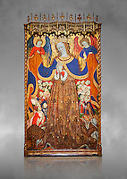 Gothic Catalan altarpiece depicting the Madonna of Mercy by Bonant Zaortiga, circa 1430-1440, tempera and gold leaf on wood, from the church of Mare de Dieu de Carrasca , Blancas, Terol, Spain. Against a grey art background. <br /> Bonnat Zaortiga was one of the most prominent representatives of the international Gothic. The Mother of God of Mercy  protects humans with her cape, symbolizing one of the most feared evils of the European Middle Ages, plague, often understood as a punishment for the sins of mankind. This was the central panel of the altarpiece of the church of the Mother of God. National Museum of Catalan Art, Barcelona, Spain, inv no: MNAC 3945.