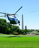 Marine One, with United States President Donald J. Trump aboard, takes off from the South Lawn of the White House in Washington, DC as the President begins his trip to Iowa.  He will return this evening.<br /> Credit: Ron Sachs / CNP