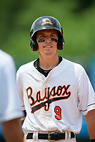 Bowie Baysox Chris Clare (9) during an Eastern League game against the Akron RubberDucks on May 30, 2019 at Prince George's Stadium in Bowie, Maryland.  Akron defeated Bowie 9-5.  (Mike Janes/Four Seam Images)