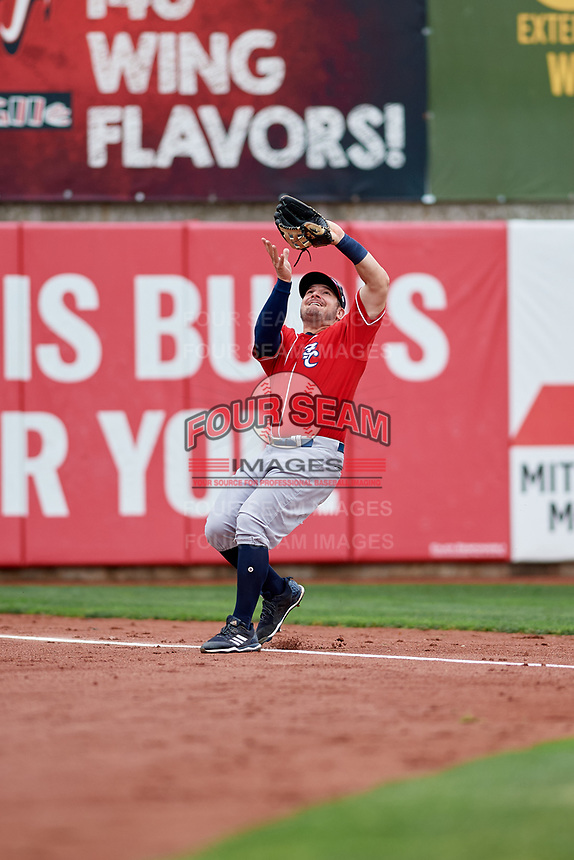 New Hampshire Fisher Cats left fielder Connor Panas (15) settles under a pop up during a game against the Erie SeaWolves on June 20, 2018 at UPMC Park in Erie, Pennsylvania.  New Hampshire defeated Erie 10-9.  (Mike Janes/Four Seam Images)