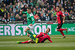 13.04.2019, Weser Stadion, Bremen, GER, 1.FBL, Werder Bremen vs SC Freiburg, <br /> <br /> DFL REGULATIONS PROHIBIT ANY USE OF PHOTOGRAPHS AS IMAGE SEQUENCES AND/OR QUASI-VIDEO.<br /> <br />  im Bild<br /> Nico Schlotterbeck (SC Freiburg #49)<br /> Milot Rashica (Werder Bremen #11)<br /> <br /> <br /> Foto &copy; nordphoto / Kokenge