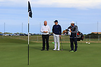 Rory McIlroy (NIR) with his Dad Gerry McIlroy (AM) on the 16th green during Round 3 of the Alfred Dunhill Links Championship 2019 at St. Andrews Golf CLub, Fife, Scotland. 28/09/2019.<br /> Picture Thos Caffrey / Golffile.ie<br /> <br /> All photo usage must carry mandatory copyright credit (© Golffile | Thos Caffrey)