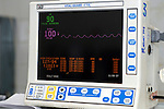 Vital signs monitor used during surgery to supervise patients' cardiovascular and respiratory functions. Royalty Free