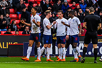 Everton's forward Dominic Calvert-Lewin (9) for England U21's  celebrates in front Sheffield United's Kop during the International Euro U21 Qualification match between England U21 and Ukraine U21 at Bramall Lane, Sheffield, England on 27 March 2018. Photo by Stephen Buckley / PRiME Media Images.