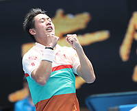 17th January 2019, Melbourne Park, Melbourne, Australia; Australian Open Tennis, day 4; Kei Nishiroki of Japan celebrates after wins the match against Ivo Karlovic of Croatia