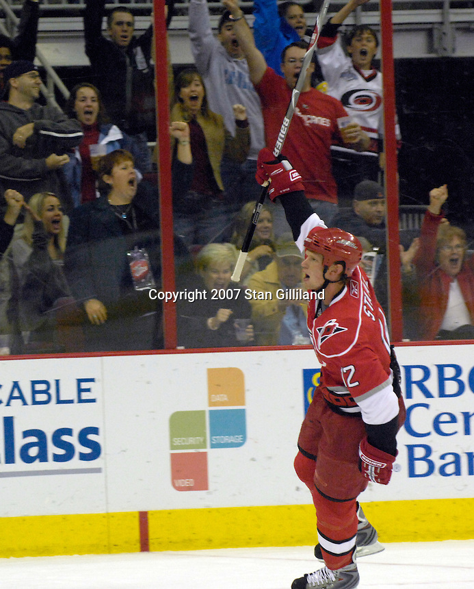Carolina Hurricanes' Eric Staal (12) celebrates his penalty shot goal during their game Friday, Oct. 26, 2007 in Raleigh, NC. The Canadiens won 7-4.