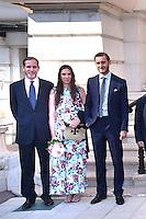 """---- NO TABLOIDS, NO WEB -- EXCLUSIF - De gauche à droite, Andrea Casiraghi, son épouse Tatiana et Pierre Casiraghi lors de la Ciné-conférence avec la projection du film """"L'invention de Monte Carlo"""", 150 ans d'histoire en images, proposée par les Archives audiovisuelles de Monaco et les Archives du Palais Princier de Monaco, le 22 juin 2016 à l'Opéra Garnier de Monaco. Ce film documentaire commenté en direct sur la scène de l'Opéra relate toute l'histoire de ce quartier de la Principauté : """"Monte Carlo"""" rendu célébre dès le début du XXeme siécle par son Casino puis par les nombreuses manifestations de prestiges qui y ont été organisées autant culturelles, comme les ballets ou les concerts de musique classique, ou que le Festival de Télévision, mais aussi sportives comme les départs des Rallyes de Monte Carlo. A travers ce quartier mythique de la Principauté, le spectateur est plongé dans l'histoire de Monaco et de son développement touristique et économique, de la création de la Société des Bains de Mer (SBM), au face à face entre le Prince Rainier III et Onassis, sans oublier les nombreux films tournés à Monte Carlo. # LE PRINCE ALBERT DE MONACO ET LA PRINCESSE CAROLINE A UNE CINE-CONFERENCE A L'OPERA GARNIER DE MONACO"""