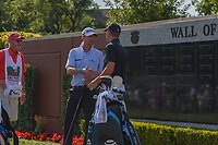 Vaughn Taylor (USA) shakes hands with Jordan Spieth (USA) on the first tee before round 4 of the Fort Worth Invitational, The Colonial, at Fort Worth, Texas, USA. 5/27/2018.<br /> Picture: Golffile | Ken Murray<br /> <br /> All photo usage must carry mandatory copyright credit (© Golffile | Ken Murray)