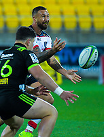 Quade Cooper gets a pass away during the Super Rugby match between the Hurricanes and Rebels at Westpac Stadium in Wellington, New Zealand on Saturday, 4 May 2019. Photo: Dave Lintott / lintottphoto.co.nz