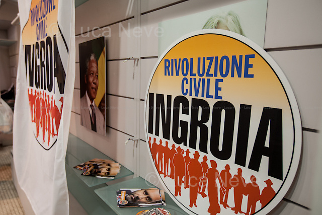 12:30 - HQ of Rivoluzione Civile - Antonio Ingroia.<br /> <br /> Rome, 25/02/2013. Reportage covering the second day of the Italian General Election, including the campaign HQ's of the Rivoluzione Civile - Antonio Ingroia, the PDL (Popolo della Libert&aacute;) - Silvio Berlusconi, and the Scelta Civile - Mario Monti.