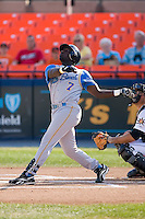 Travis Jones (7) of the Myrtle Beach Pelicans follows through on his swing at Harry Grove Stadium in Frederick, MD, Monday July 14, 2008. (Photo by Brian Westerholt / Four Seam Images)