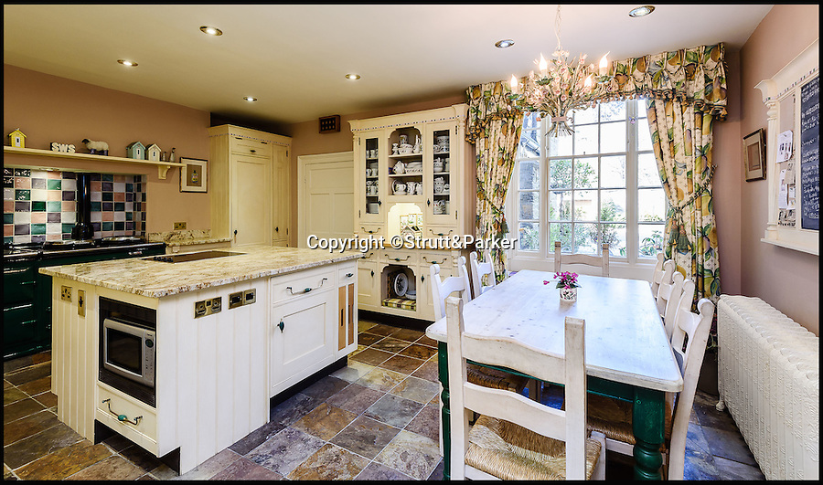 BNPS.co.uk (01202 558833)<br /> Pic: Strutt&Parker/BNPS<br /> <br /> Kitchen.<br /> <br /> Go West...ultimate coastal hideaway with its own private island.<br /> <br /> A beautiful family home with its own private island is the perfect purchase for anyone with a sense of adventure.<br /> <br /> Trefri Hall is a stunning Grade II listed house with the Snowdonian hills as a backdrop and incredible views over the Dovey Estuary in mid Wales.<br /> <br /> But the real selling point is the small rocky island you can reach by bridge with your own castellated folly - ideal for pirate games or a spot of hide and seek.<br /> <br /> The house is up for sale with Strutt & Parker for £1.75million.