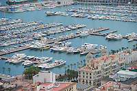 Spain, Alicante, a beach town and historic Mediterranean port. View of beach and harbor from Santa Barbara castle on the hill.