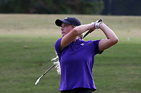 CHAPEL HILL, NC - OCTOBER 13: Caroline Wrigley of Furman University tees off at UNC Finley Golf Course on October 13, 2019 in Chapel Hill, North Carolina.