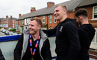 Lincoln City's Michael O'Connor, left, with team-mate Harry Anderson during the open top bus tour to celebrate the club winning the EFL Sky Bet League Two<br /> <br /> Photographer Andrew Vaughan/CameraSport<br /> <br /> The EFL Sky Bet League Two - Lincoln City - Champions Parade - Sunday 5th May 2019 - Lincoln<br /> <br /> World Copyright © 2019 CameraSport. All rights reserved. 43 Linden Ave. Countesthorpe. Leicester. England. LE8 5PG - Tel: +44 (0) 116 277 4147 - admin@camerasport.com - www.camerasport.com