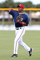 Washington Nationals third baseman Diomedes Eusebio #53 warmus up before an Instructional League game against the national team from Italy at Carl Barger Training Complex on September 28, 2011 in Viera, Florida.  (Mike Janes/Four Seam Images)