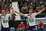 07.04.2019,  Lueneburg GER, VBL, Playoff-Viertelfinale, SVG Lueneburg vs United Volleys Frankfurt im Bild die Lueneburger Mannschaft jubelt Foto © nordphoto / Witke
