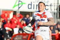 PICTURE BY ALEX WHITEHEAD/SWPIX.COM - Rugby League - Autumn International Series - Wales vs England - Glyndwr University Racecourse Stadium, Wrexham, Wales - 27/10/12 - England's Josh Charnley makes a break.