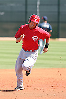 Chris Richburg #26 of the Cincinnati Reds plays in a minor league spring training game against the Cleveland Indians at the Reds complex on March 26, 2011 in Goodyear, Arizona. .Photo by:  Bill Mitchell/Four Seam Images.