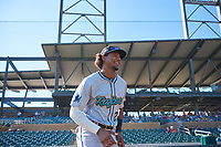 Salt River Rafters outfielder Jerar Encarnacion (27), of the Miami Marlins organization, jogs onto the field during player introductions before the Arizona Fall League Championship Game against the Surprise Saguaros on October 26, 2019 at Salt River Fields at Talking Stick in Scottsdale, Arizona. The Rafters defeated the Saguaros 5-1. (Zachary Lucy/Four Seam Images)