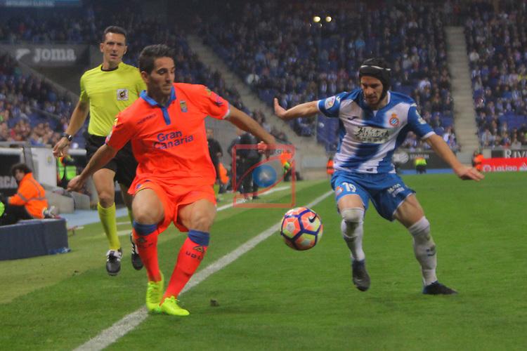League Santander 2016/2017. Game: 27.<br /> RCD Espanyol vs UD Las Palmas: 4-3.<br /> Pablo Piatti vs Pedro Bigas.