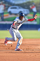 Lakewood BlueClaws Carlos De La Cruz (27) leads off second base during a game against the Asheville Tourists at McCormick Field on June 13, 2019 in Asheville, North Carolina. The BlueClaws defeated the Tourists 4-3. (Tony Farlow/Four Seam Images)