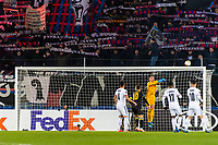 27th February 2020; St Jakob Park, Basel, Switzerland; UEFA Europa League Football, FC Basel versus APOEL Nicosia; Goalkeeper Djordje Nikolic of FC Basel punches the ball away under pressure in front of the FC Basel fans