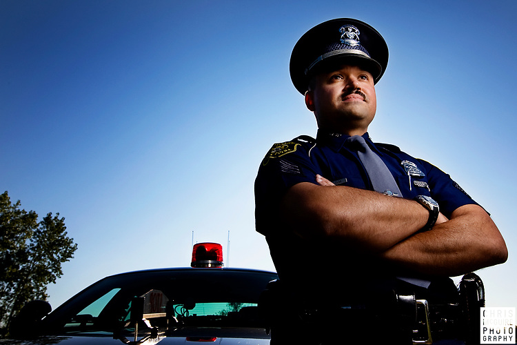 Sergeant Tony Cuevas, a 14-year veteran of the Michigan State Police, poses for a portrait at his post in Ypsilanti, Michigan on Saturday, October 4, 2008.  (Christopher McGuire)