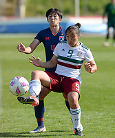 20190301 - LARNACA , CYPRUS : Mexican Charlyn Corral (r) pictured in a duel with Thai Sritala Duangnapa (left) during a women's soccer game between Thailand and Mexico , on Friday 1 March 2019 at the GSZ Stadium in Larnaca , Cyprus . This is the second game in group B for both teams during the Cyprus Womens Cup 2019 , a prestigious women soccer tournament as a preparation on the FIFA Women's World Cup 2019 in France . PHOTO SPORTPIX.BE | DAVID CATRY