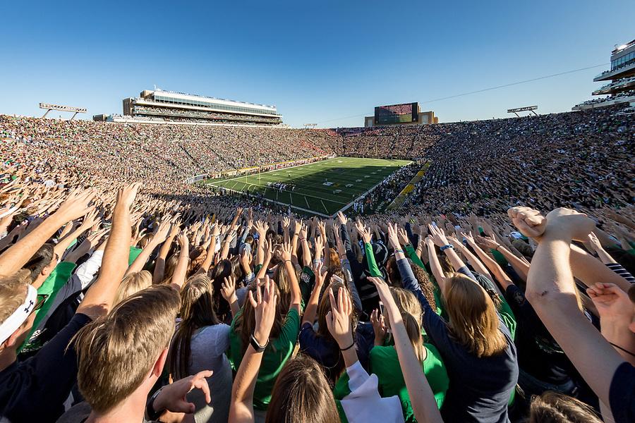 September 30, 2017; Student section of Notre Dame Stadium (Photo by Matt Cashore/University of Notre Dame)