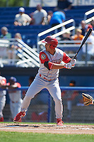 Williamsport Crosscutters outfielder Andrew Amaro (5) at bat during a game against the Batavia Muckdogs on July 16, 2015 at Dwyer Stadium in Batavia, New York.  Batavia defeated Williamsport 4-2.  (Mike Janes/Four Seam Images)