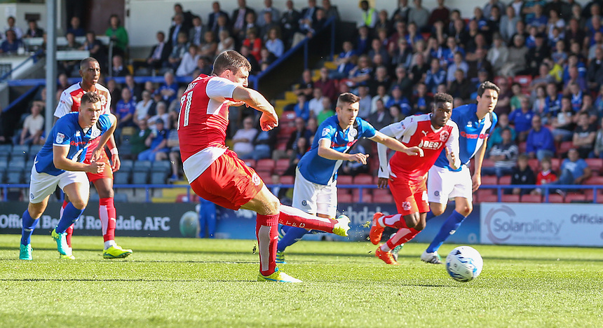 Fleetwood Town's Bobby Grant slots the equaliser from the penalty spot to make it 1-1<br /> <br /> Photographer Alex Dodd/CameraSport<br /> <br /> The EFL Sky Bet League One - Rochdale v Fleetwood Town - Saturday 17th September 2016 - Spotland - Rochdale<br /> <br /> World Copyright &copy; 2016 CameraSport. All rights reserved. 43 Linden Ave. Countesthorpe. Leicester. England. LE8 5PG - Tel: +44 (0) 116 277 4147 - admin@camerasport.com - www.camerasport.com