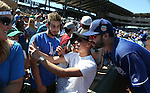 Los Angeles Dodgers&rsquo; Andre Ethier poses with fans before a spring training game in Scottsdale, Ariz., on Friday, March 18, 2016. <br />Photo by Cathleen Allison