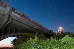 Crowds gather every evening from April through October to watch the Mexican free-tailed Bats emerge from underneath the Congress Avenue Bridge. Austin, TX