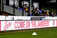 Tiptree Jam show their support for the home team on the boards around the ground ahead of Maldon & Tiptree vs Newport County, Emirates FA Cup Football at the Wallace Binder Ground on 29th November 2019