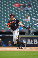 Hunter Hearn (8) of the Sam Houston State Bearkats follows through on his swing against the Kentucky Wildcats during game four of the 2018 Shriners Hospitals for Children College Classic at Minute Maid Park on March 3, 2018 in Houston, Texas. The Wildcats defeated the Bearkats 7-2.  (Brian Westerholt/Four Seam Images)