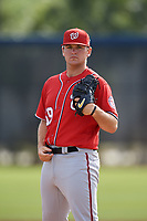 Washington Nationals pitcher Wil Crowe (69) doing pitching drills before a Minor League Spring Training game against the Miami Marlins on March 28, 2018 at FITTEAM Ballpark of the Palm Beaches in West Palm Beach, Florida.  (Mike Janes/Four Seam Images)